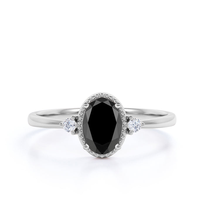 1.50 Carat Vintage Oval Cut Black Diamond and White Diamond Milgrain 3 Stone Engagement Ring in White Gold