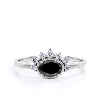 1.50 Carat Vintage Oval Cut Black Diamond and White Diamond Accents Cluster Engagement Ring in White Gold