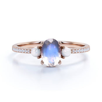 Antique .95 Carat Oval Blue Moonstone, Pearl & Diamond 3 Stone Wedding Ring in Rose Gold
