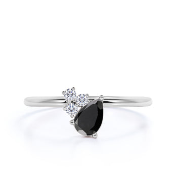 1.50 Carat Pear Shaped Black Diamond and White Diamond Accents Cluster Engagement Ring in White Gold