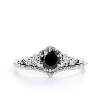 1.25 Carat Antique Floral Milgrain Round Black Diamond and White Diamond Accents Vintage Engagement Ring in White Gold