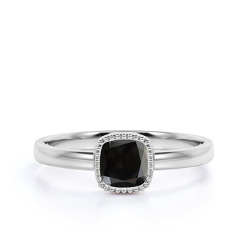 1 Carat Simple Bezel Set Cushion Cut Black Diamond Minimalist Solitaire Engagement Ring in White Gold