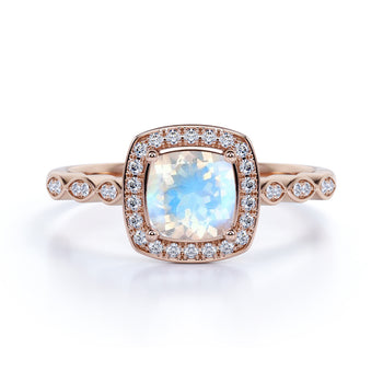 Artdeco 1.50 Carat Cushion Cut Rainbow Moonstone & Diamond Vintage Wedding Ring in Rose Gold
