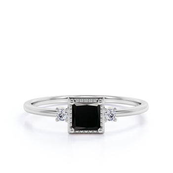 Vintage 1.5 Carat princess Cut Black Diamond and White Diamond Accents 3 Stone Engagement Ring in White Gold