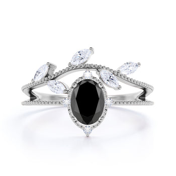 2 Carat Oval Cut Black Diamond with Marquise and Round Cut White Diamond Accents Vintage Engagement Ring in White Gold
