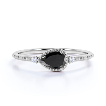 Milgrain Set Pear Shaped Black Diamond and White Diamond Accents 3 Stone Engagement Ring in White Gold