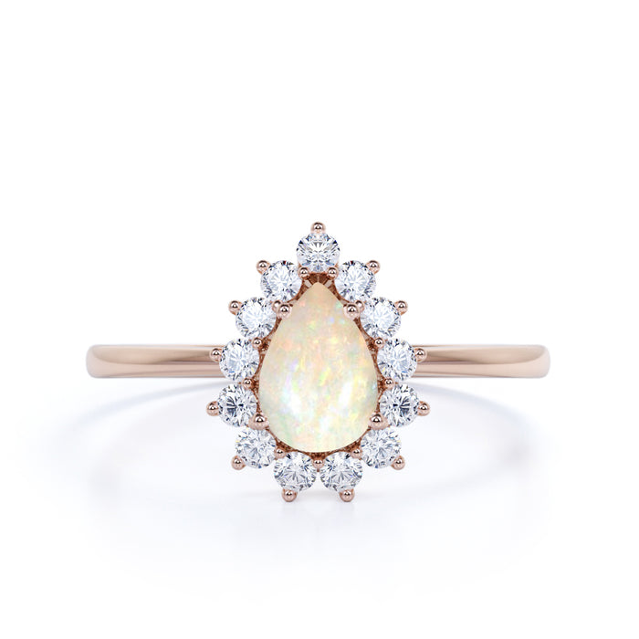 Elegant 2 Carat Real Vintage Pear Shaped Australian Opal and Diamond Halo Engagement Ring in Rose Gold