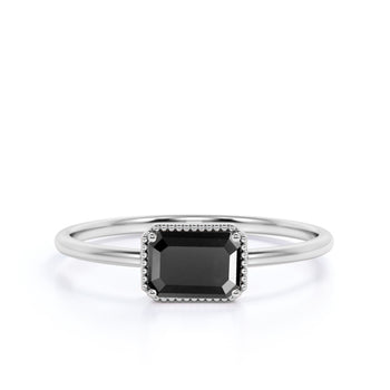 Minimalist 1 Carat Baguette Cut Black Diamond Simple Solitaire Engagement Ring in White Gold