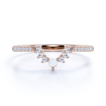.65 Carat Vintage Pearl & Moissanite Pave Dainty Stackable Wedding Ring Band in Rose Gold