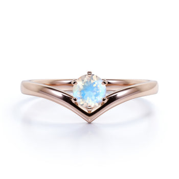 Vintage .33 Carat Round Rainbow Moonstone Art Deco Solitaire Promise Ring in Rose Gold
