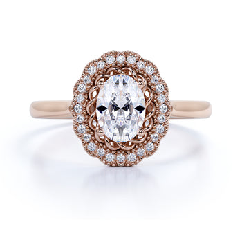 Unique 1.5 Carat Oval Cut Fire Moissanite & Diamond Vintage Halo Wedding Ring in Rose Gold