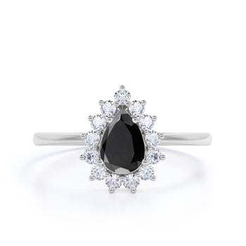 Elegant 2 Carat Vintage Pear Cut Black Diamond and White Diamond Halo Engagement Ring in White Gold