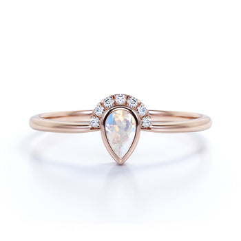 .75 Carat Bezel Set Art Deco Teardrop Rainbow Moonstone & Diamond Promise Ring in Rose Gold