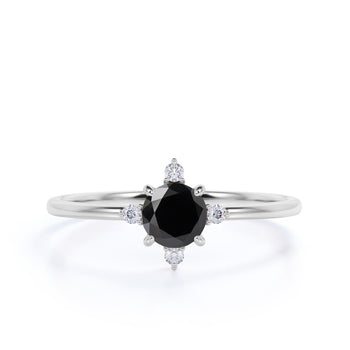 1.50 Carat Vintage 5 Stone Round Cut Black Diamond and White Diamond Engagement Ring in White Gold