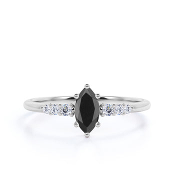 Elegant 1.5 Carat Vintage Marquise Cut Black Diamond and Pave White Diamond Accents Engagement Ring in White Gold
