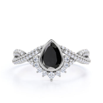 Stunning Vintage 2 Carat Pear Shaped Black Diamond and White Diamond Antique Engagement Ring in White Gold