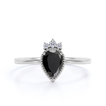 1.25 Carat Elegant Pear Shaped Black Diamond and White Diamond Crown Engagement Ring in White Gold