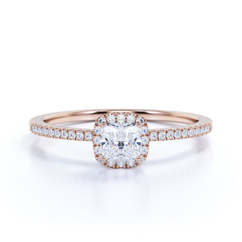 Vintage .75 Carat Pave Cushion Cut Moissanite & Diamond Cluster Wedding Ring in Rose Gold