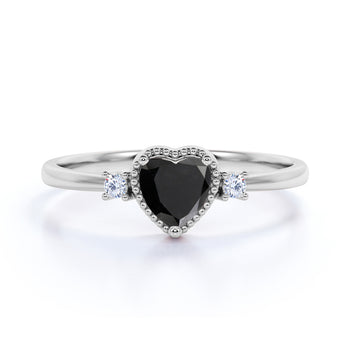 1.50 Carat Vintage Heart Shaped Black Diamond and White Diamond Milgrain 3 Stone Engagement Ring in White Gold