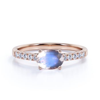 1.50 Carat Vintage Oval Cut Blue Moonstone & Diamond Cluster Wedding Ring in Rose Gold