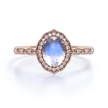 1.5 Carat Vintage Art Deco Oval Blue Moonstone & Diamond Halo Wedding Ring in Rose Gold
