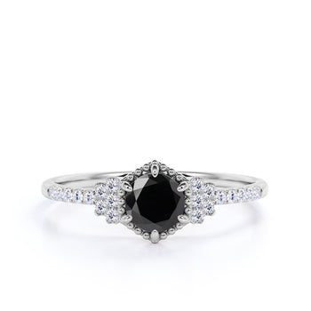1.50 Carat Round Cut Black Diamond and Pave White Diamond Accents Cluster 6 Prong Engagement Ring in White Gold