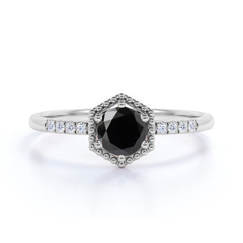 1.50 Carat Basket Set Round Black Diamond and Pave White Diamond Halo Engagement Ring in White Gold
