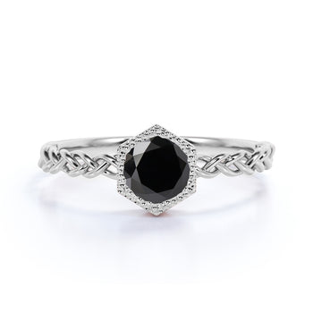 Unique Bezel Set 1 Carat Round Black Diamond Braided Band Solitaire Engagement Ring in White Gold