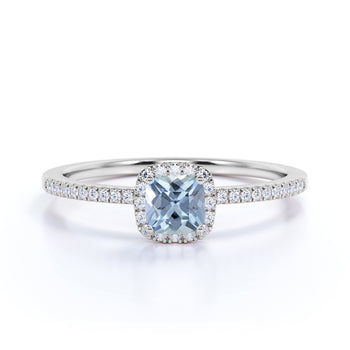 Vintage Pave 0.75 Carat Cushion Aquamarine & Diamond Cluster Engagement Ring in White Gold