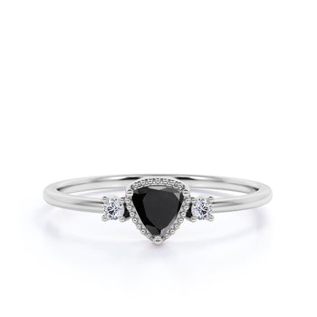 Vintage 1.5 Carat Trillion Cut Black Diamond and White Diamond Accents 3 Stone Engagement Ring in White Gold
