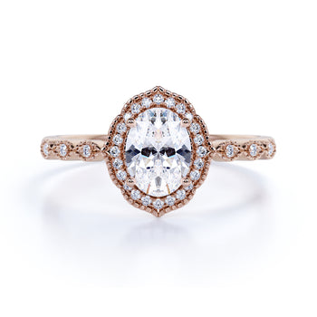 1.5 Carat Vintage Art Deco Oval Fire Moissanite & Diamond Halo Wedding Ring in Rose Gold