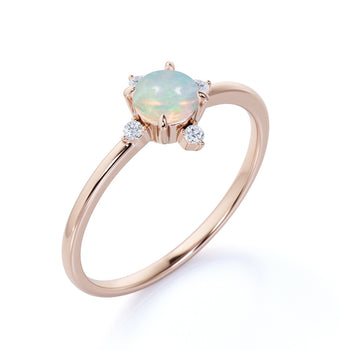1.5 Carat Real Vintage 5 Stone Round Cut Fire Opal and Diamond Engagement Ring in Rose Gold