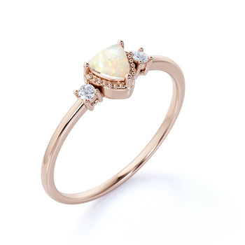 Vintage 1.5 Carat Genuine Trillion Cut Australian Opal and Diamond Accents 3 Stone Engagement Ring in Rose Gold