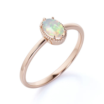1 Carat Natural Simple Oval Ethiopian Opal Vintage Solitaire Engagement Ring in Rose Gold