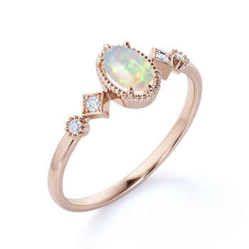 1.5 Carat Natural Oval Blue Fire Opal and Diamond Accents Milgrain 5 Stone Engagement Ring in Rose Gold