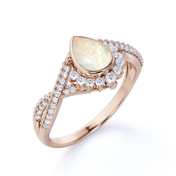 Stunning Vintage 2 Carat Natural Pear Shaped Welo Opal and Diamond Antique Engagement Ring in Rose Gold