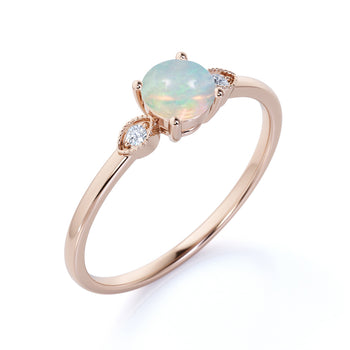 1.25 Carat Natural Vintage 3 Stone Round Black Opal and Diamond Milgrain Engagement Ring in Rose Gold