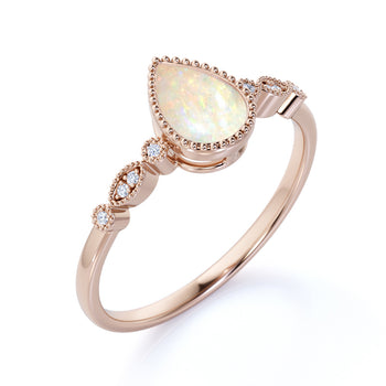 Classic Milgrain Pear Shaped Fire Opal with Diamond Accents Scalloped Engagement Ring in Rose Gold