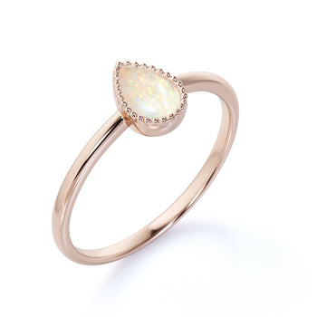 Simple 1 Carat Real Bezel Set Pear Shaped Fire Opal Solitaire Engagement Ring in Rose Gold