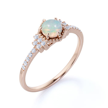 1.5 Carat Real Round Fire Opal and Pave Diamond Accents Cluster 6 Prong Engagement Ring in Rose Gold