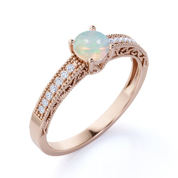 Classic Vintage 1 Carat Natural Round Cut Fire Opal and Diamond Accents Milgrain Engagement Ring in Rose Gold