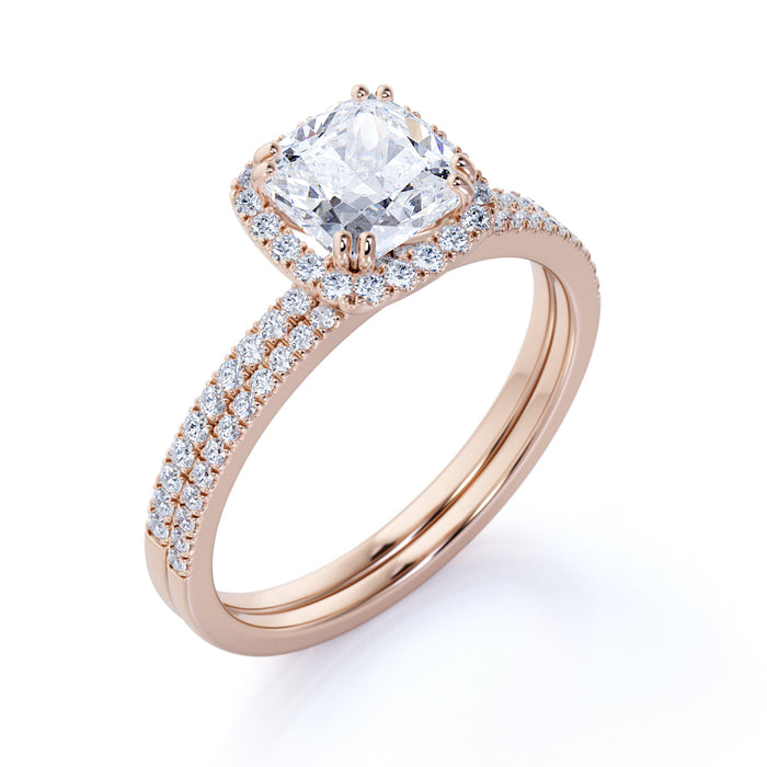 2 Carat Cushion Cut Moissanite and Diamond Halo Bridal Set in Rose Gold