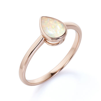 1 Carat Natural Minimalist Bezel Set Pear Shaped Fire Opal Solitaire Engagement Ring in Rose Gold