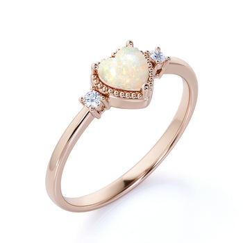 1.50 Carat Natural Vintage Heart Shaped Australian Opal and Diamond Milgrain 3 Stone Engagement Ring in Rose Gold