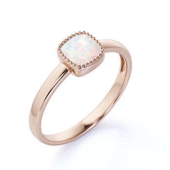 1 Carat Genuine Simple Bezel Set Cushion Cut Fire Opal Minimalist Solitaire Engagement Ring in Rose Gold