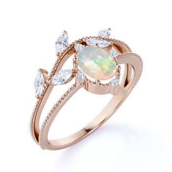 2 Carat Natural Oval Fire Opal with Marquise & Round Cut Diamond Accents Vintage Engagement Ring in Rose Gold