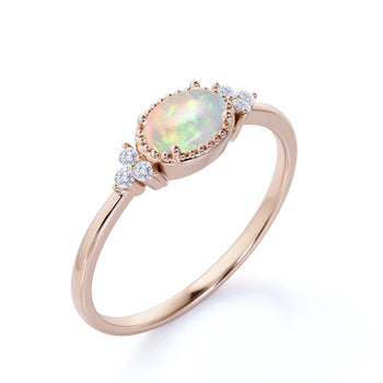 1.5 Carat Real Vintage Oval Ethiopian Opal and Diamond Accents Semi Halo Crown Engagement Ring in Rose Gold