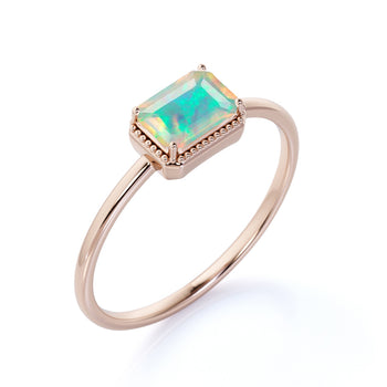 Minimalist 1 Carat Real Baguette Cut Rainbow Opal Simple Solitaire Engagement Ring in Rose Gold
