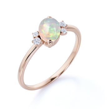 1.5 Carat Real Oval Cut Welo Opal and Diamond Accents Cluster Engagement Ring in Rose Gold