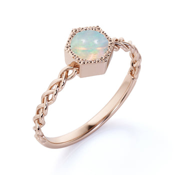 Unique Bezel Set 1 Carat Natural Round Blue Fire Opal Braided Band Solitaire Engagement Ring in Rose Gold